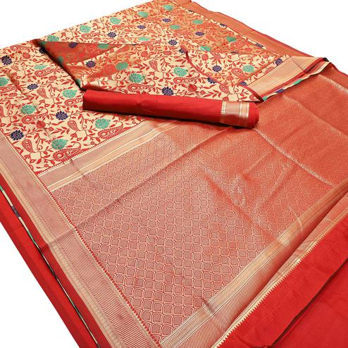 Glorious Red Colored Festive Wear Woven Banarasi Silk Saree