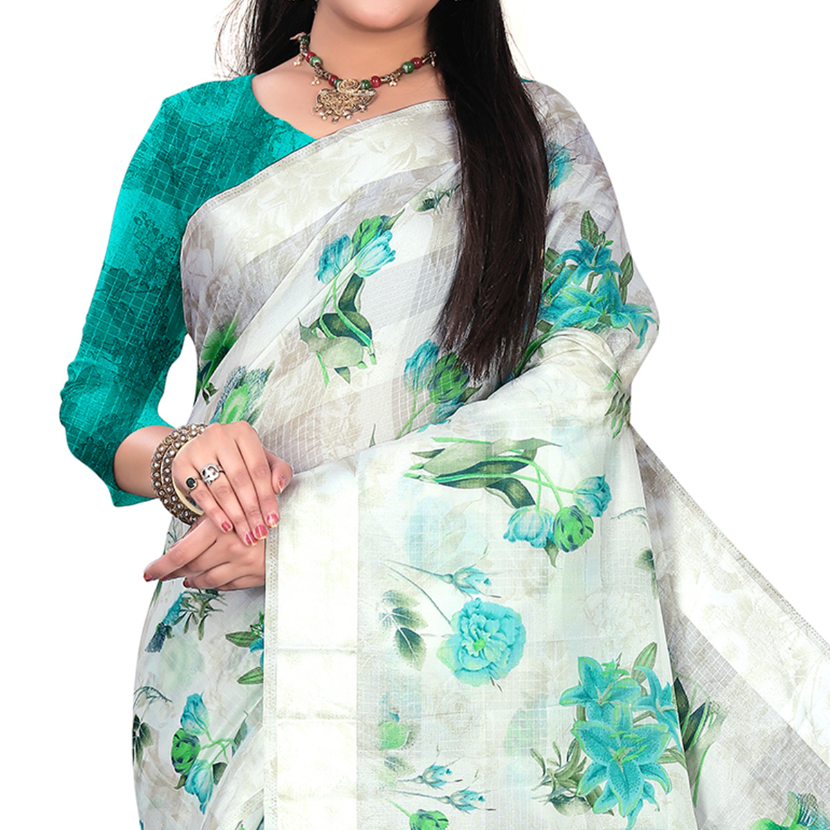 Exceptional White-Blue Colored Casual Floral Printed Linen Saree