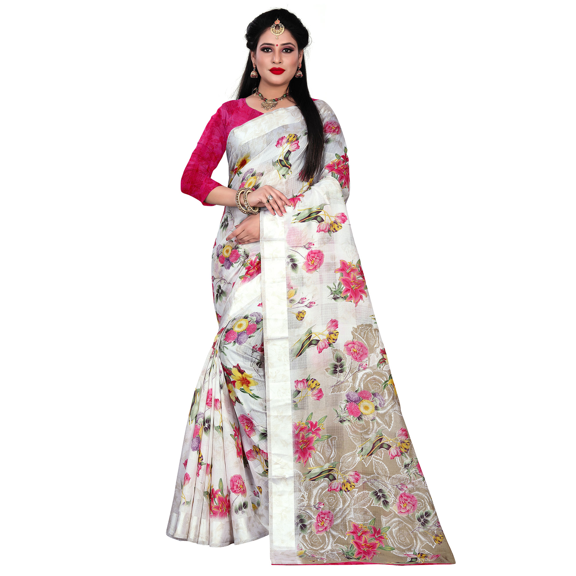 Gleaming White-Pink Colored Casual Floral Printed Linen Saree