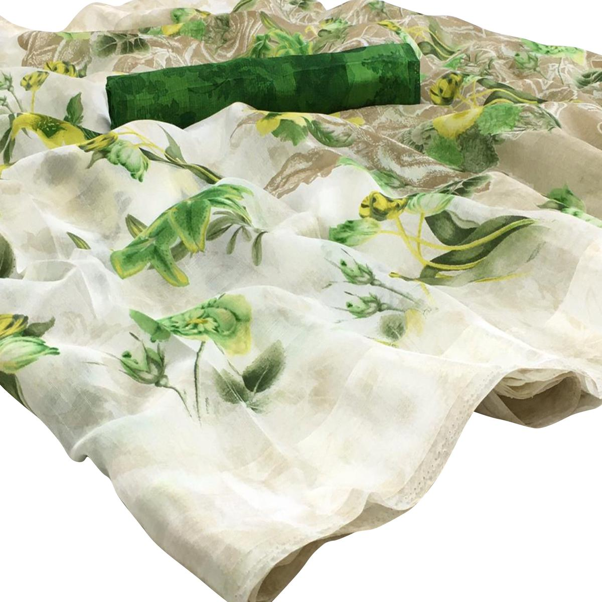 Mesmeric White-Green Colored Casual Floral Printed Linen Saree