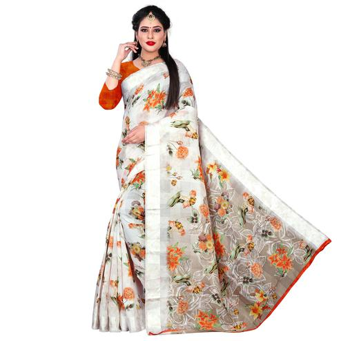 Unique White-Orange Colored Casual Floral Printed Linen Saree