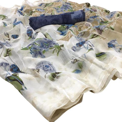 Demanding White-Navy Blue Colored Casual Floral Printed Linen Saree