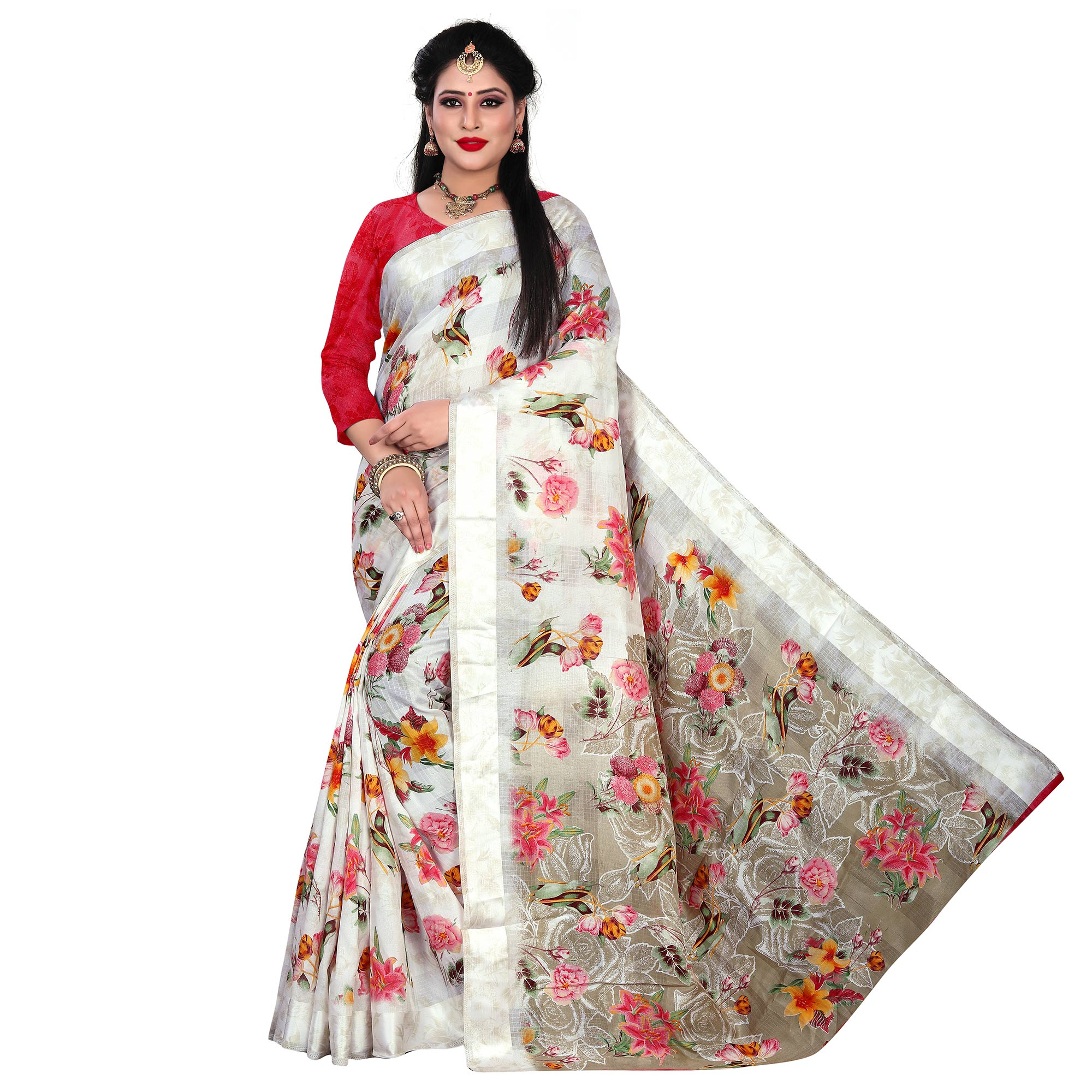Refreshing White-Pink Colored Casual Floral Printed Linen Saree