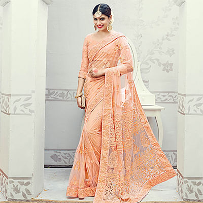 Peach Wedding Wear Lucknowi Net Saree