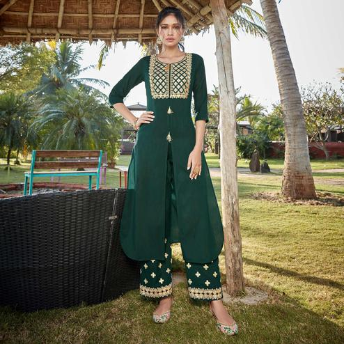 Adorable Bottle Green Colored Partywear Embroidered Cotton Silk Kurti-Palazzo Set