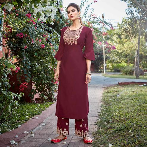 Glorious Maroon Colored Partywear Embroidered Cotton Silk Kurti-Palazzo Set