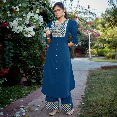 Attractive Blue Colored Partywear Embroidered Cotton Silk Kurti-Palazzo Set