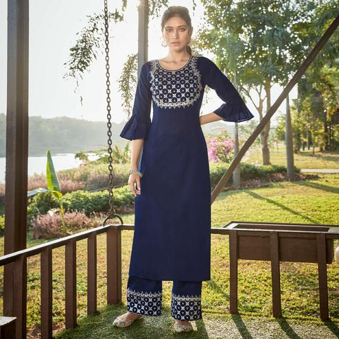 Beautiful Navy Blue Colored Partywear Embroidered Cotton Silk Kurti-Palazzo Set