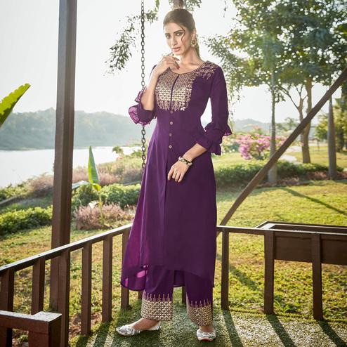 Graceful Purple Colored Partywear Embroidered Cotton Silk Kurti-Palazzo Set