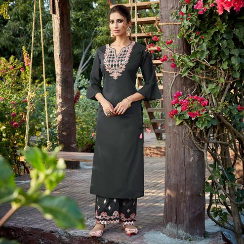 Blooming Black Colored Partywear Embroidered Cotton Silk Kurti-Palazzo Set