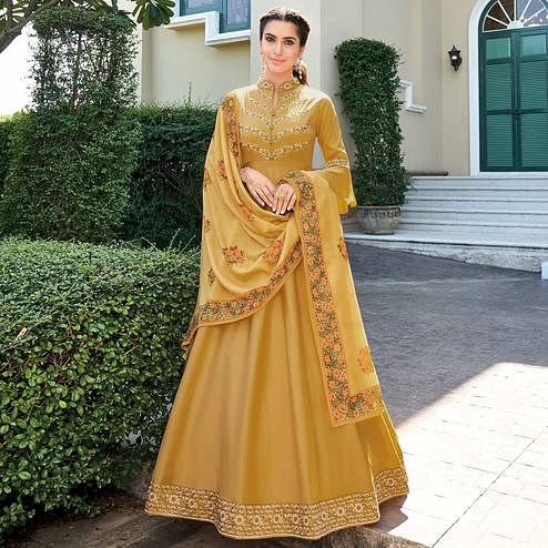 Flamboyant Mustard Yellow Colored Partywear Embroidered Silk Anarkali Suit