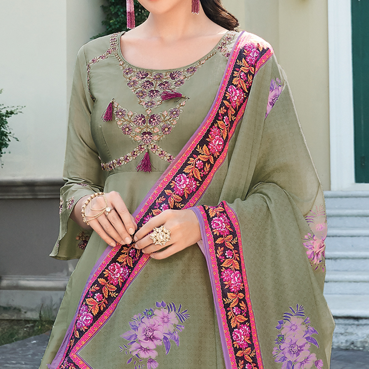 Preferable Light Green Colored Partywear Embroidered Silk Anarkali Suit