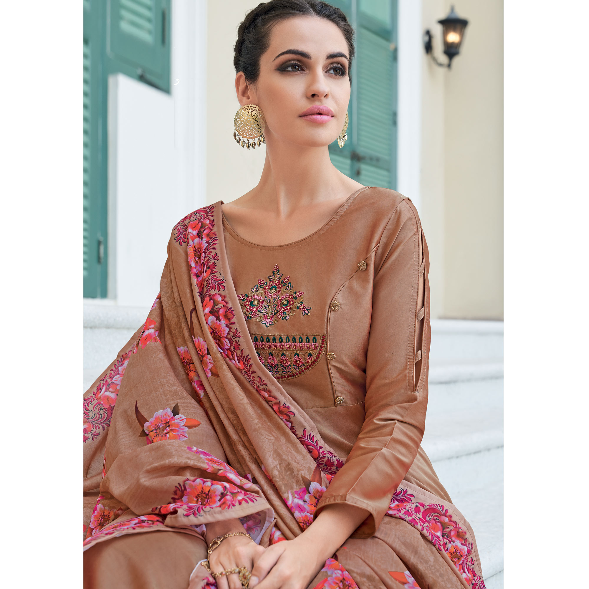 Flattering Brown Colored Partywear Embroidered Silk Anarkali Suit