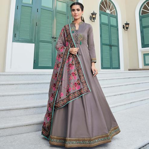 Refreshing Grey Colored Partywear Embroidered Silk Anarkali Suit
