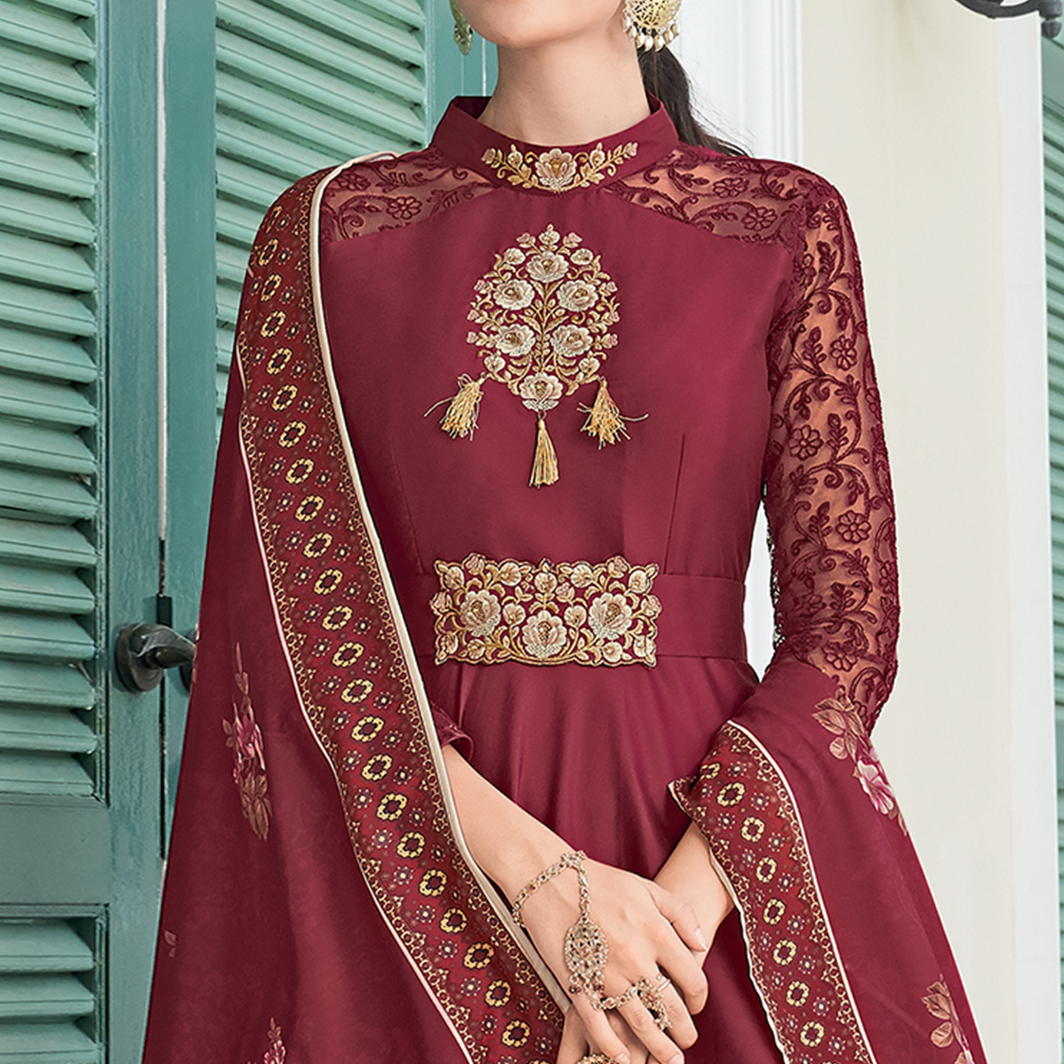 Unique Maroon Colored Partywear Embroidered Silk Anarkali Suit