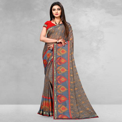 Intricate Grey Colored Casual Wear Printed Brasso Saree