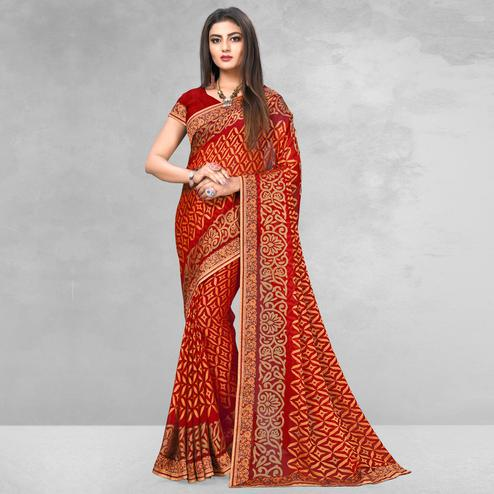 Desirable Red Colored Casual Wear Printed Brasso Saree