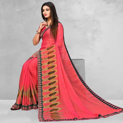 Trendy Pink Colored Casual Wear Printed Brasso Saree