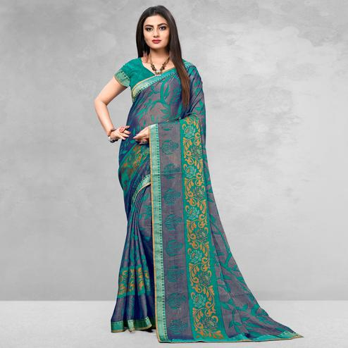 Radiant Blue Colored Casual Wear Printed Brasso Saree