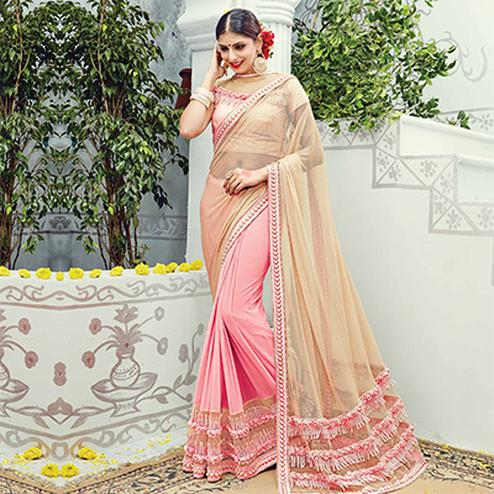 Beige - Pink Reception Wear Designer Saree
