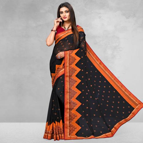 Energetic Black Colored Casual Wear Printed Brasso Saree