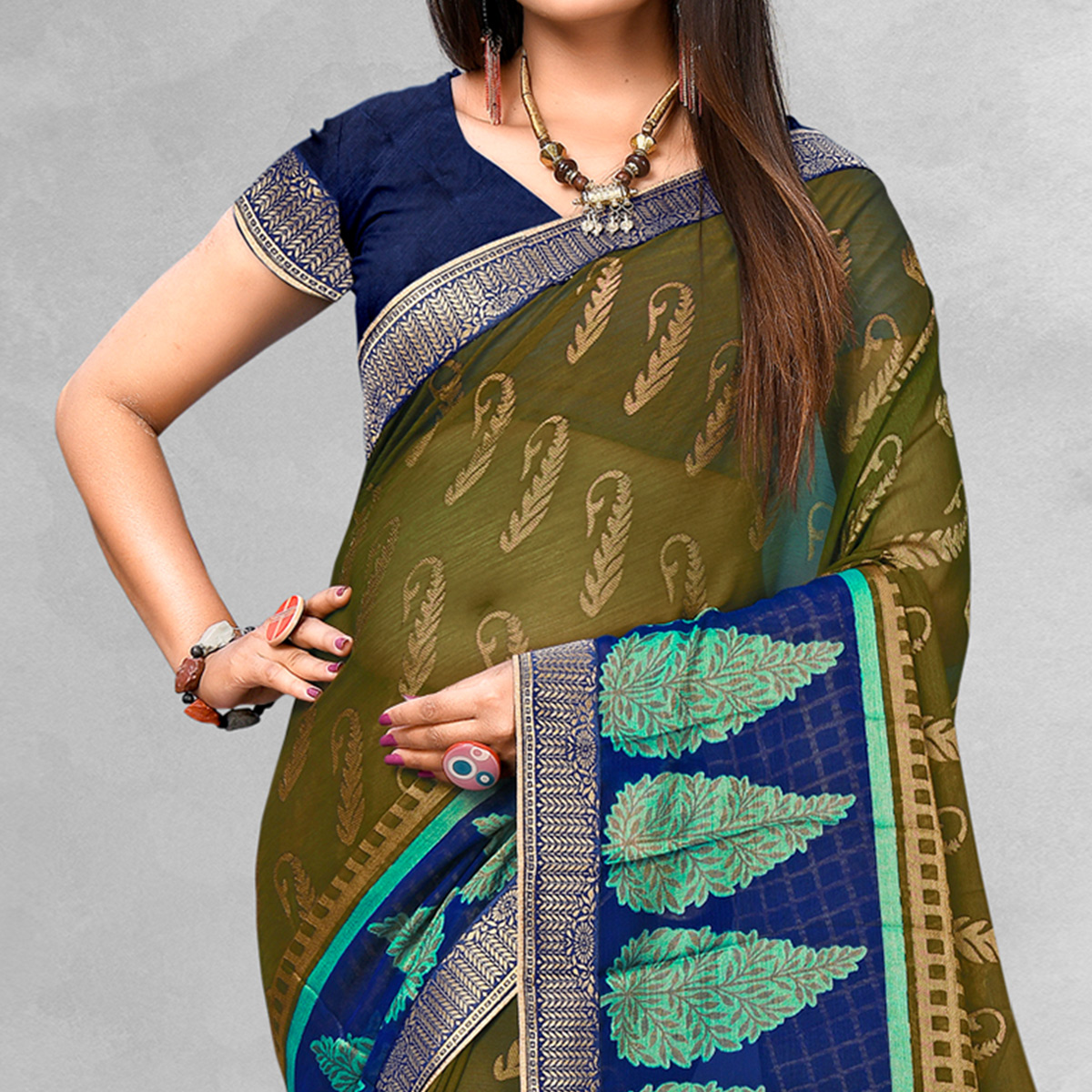 Glowing Olive Green Colored Casual Wear Printed Brasso Saree