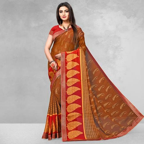 Exceptional Rust Orange Colored Casual Wear Printed Brasso Saree