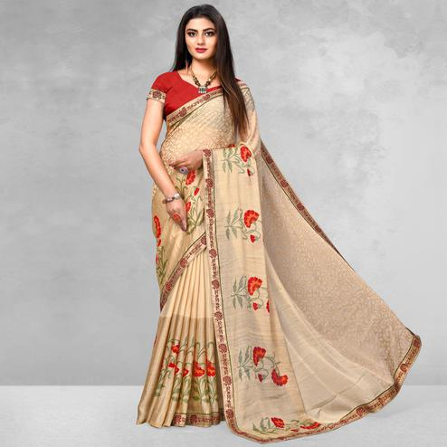 Gleaming Beige Colored Casual Wear Printed Brasso Saree