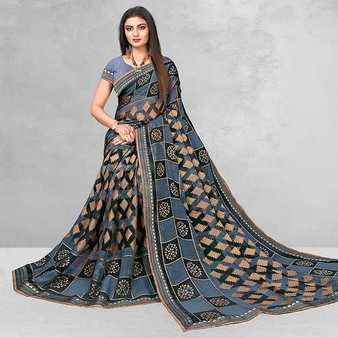 Mesmeric Grey Colored Casual Wear Printed Brasso Saree