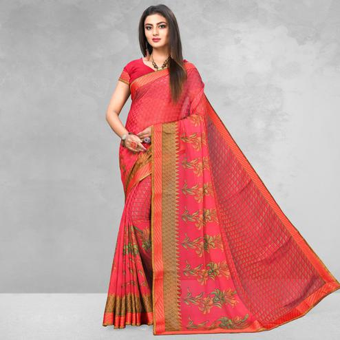 Refreshing Pink Colored Casual Wear Printed Brasso Saree