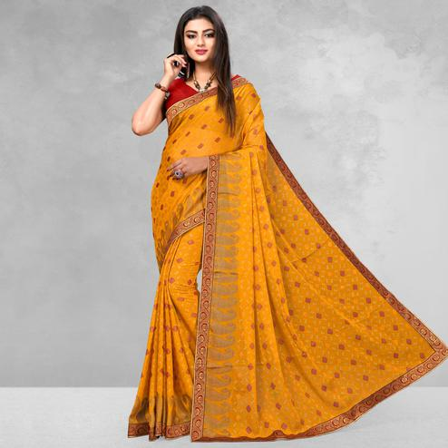 Excellent Mustard Yellow Colored Casual Wear Printed Brasso Saree