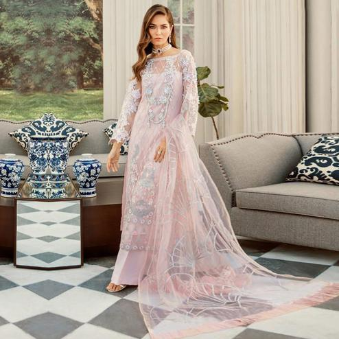 Classy Light Pink Colored Party Wear Floral Embroidered Net Palazzo Suit