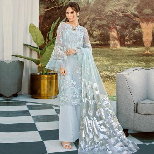 Prominent Light Blue Colored Party Wear Floral Embroidered Net Palazzo Suit