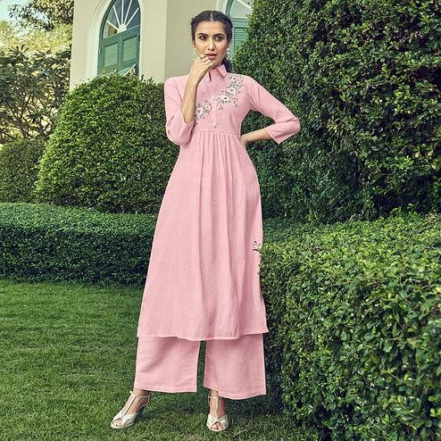 Magnetic Pink Colored Partywear Floral Embroidered Cotton Kurti-Palazzo Set