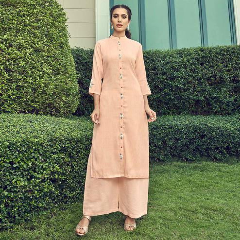 Hypnotic Peach Colored Partywear Floral Embroidered Cotton Kurti-Palazzo Set