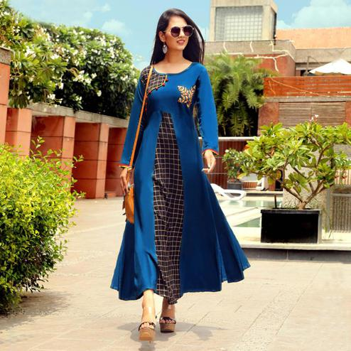 Mesmeric Blue Colored Partywear Handwork Rayon Long Kurti