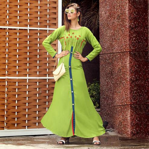 Unique Green Colored Partywear Handwork Rayon Long Kurti