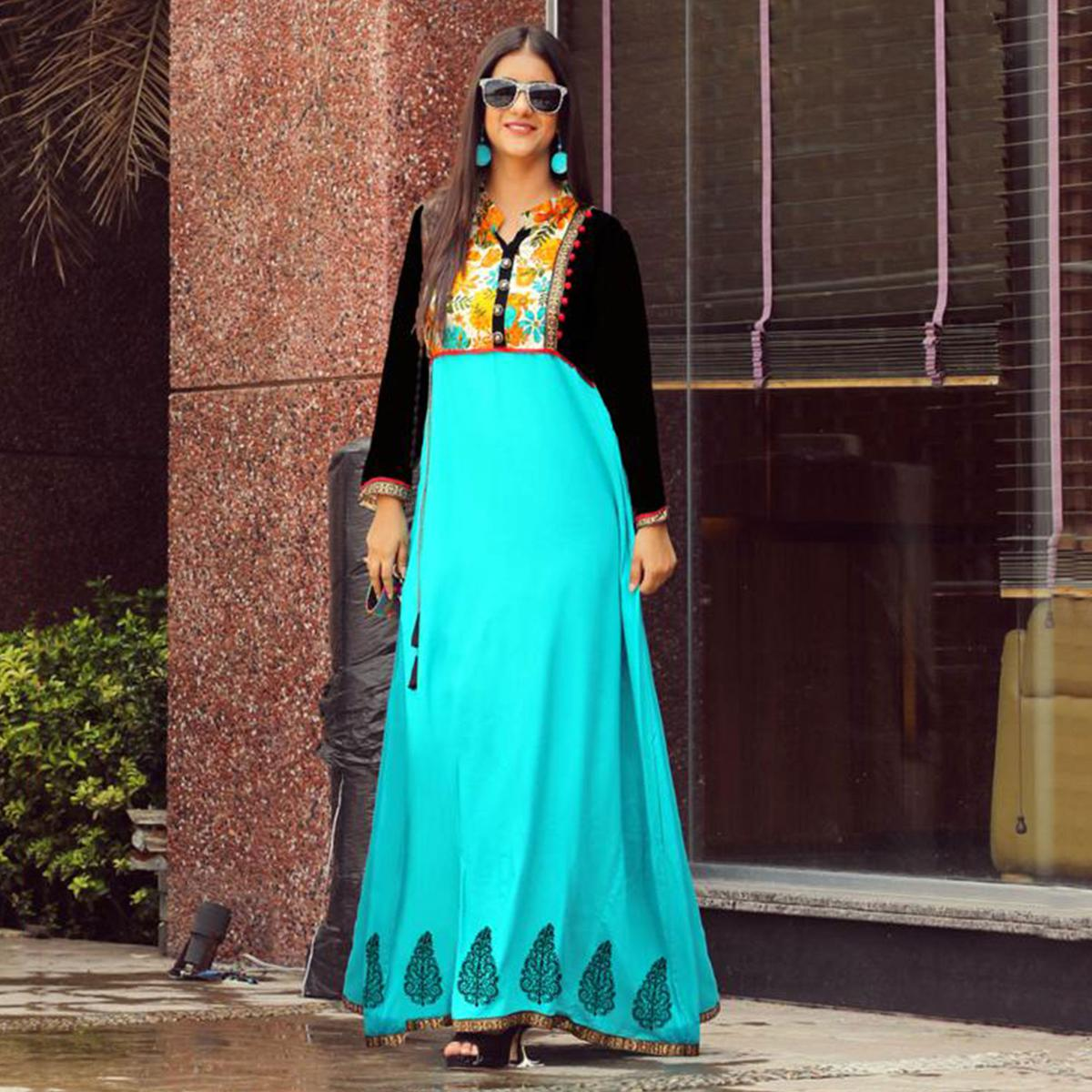 Demanding Aqua Blue Colored Partywear Handwork Rayon Long Kurti
