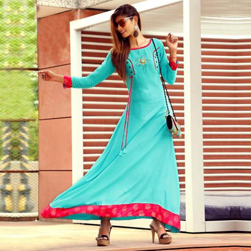 Hypnotic Aqua Blue Colored Partywear Handwork Rayon Long Kurti