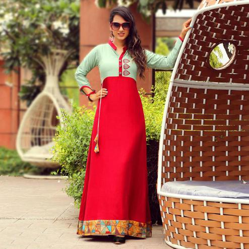Flattering Red Colored Partywear Handwork Rayon Long Kurti
