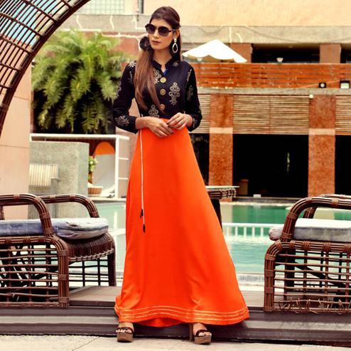Excellent Orange Colored Partywear Handwork Rayon Long Kurti