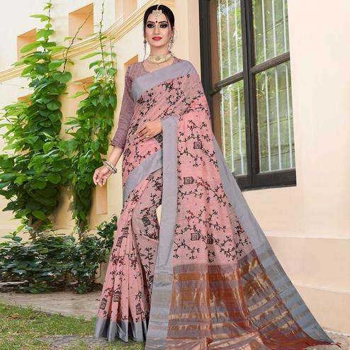 Radiant Light Pink Colored Casual Printed-Woven Linen Saree With Tassels