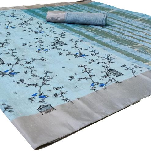 Opulent Light Blue Colored Casual Printed-Woven Linen Saree With Tassels