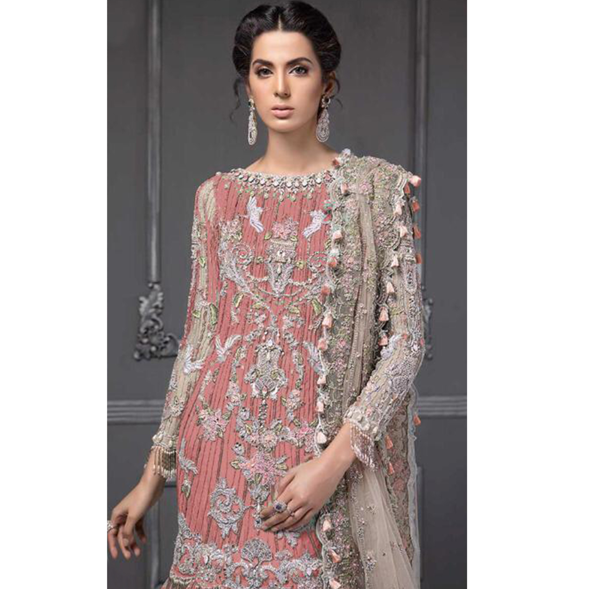 Exclusive Gajari Colored Partywear Embroidered Netted Lehenga Kameez