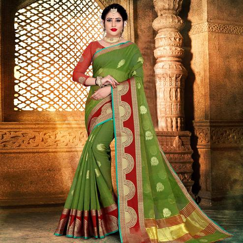 Lovely Green Colored Festive Wear Woven Kota Doria Saree