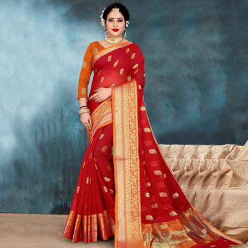 Mesmerising Red Colored Festive Wear Woven Kota Doria Saree