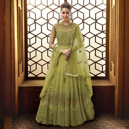 Pleasance Light Green Colored Party Wear Embroidered Netted Anarkali Suit
