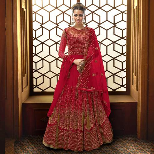 Breathtaking Red Colored Party Wear Embroidered Netted Anarkali Suit