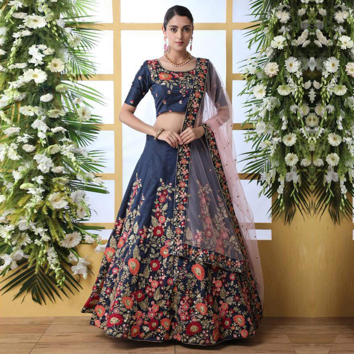 Elegant Navy Blue Colored Party Wear Floral Embroidered Art Silk Lehenga Choli