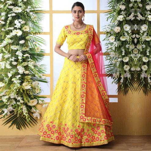 Radiant Yellow Colored Party Wear Floral Embroidered Art Silk Lehenga Choli